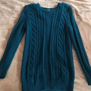 Blueish green cable knit sweater